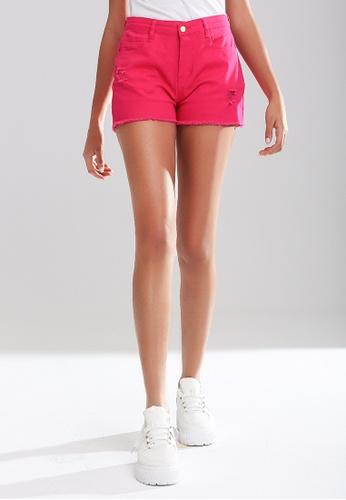 London Rag pink Raw Hem Ripped Denim Shorts 401D6AA3BDBF73GS_1