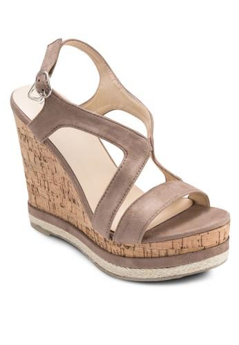 Darlene 交叉帶木製楔形鞋, 女鞋, 楔zalora鞋子評價形涼鞋