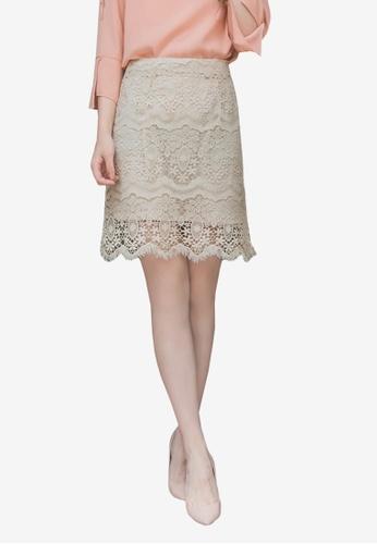 YOCO beige Lace Wrap Mini Skirt 6DE9DAA63361BBGS_1