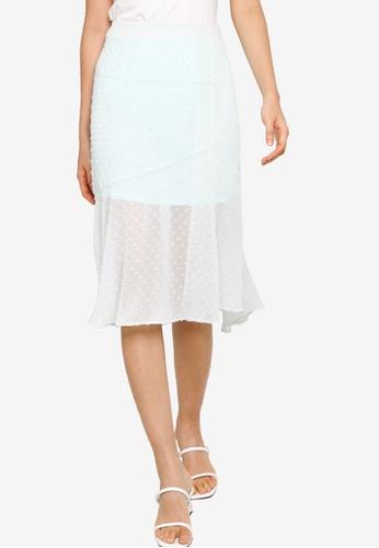 ZALORA BASICS 綠色 Textured Chiffon Midi Skirt with Slit 1DD9CAA01399C0GS_1