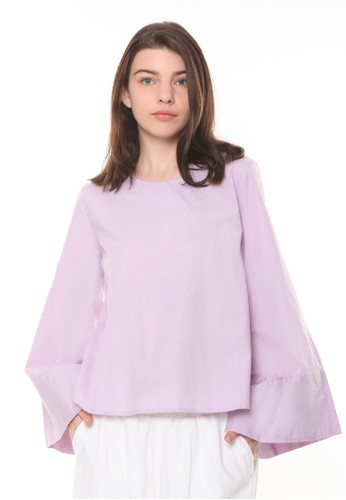 et cetera purple Wide Cuffed Cotton Blouse 82089AAD30A9E5GS_1