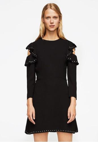 Mango black Ruffles Cold-Shoulder Dress MA533AA0UMTOID_1