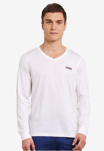 2GO white Long Sleeve V-Neck T-Shirt 2G729AA0S5ZBMY_1