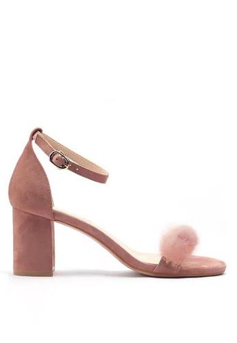 Twenty Eight Shoes 毛毛球繞帶高踭涼鞋320-30 141AASH3310398GS_1