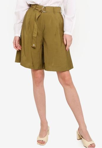 French Connection green Brekhna Drape Bermuda Shorts BD14FAA0EB1E0FGS_1