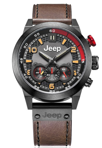 Jeep Casual Men's Watch Jeep JPG91203 Black Red Brown Leather