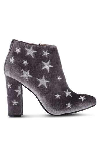 ZALORA grey Stars Embroidery Ankle Boots 46E4FZZ2DFB7D3GS_1