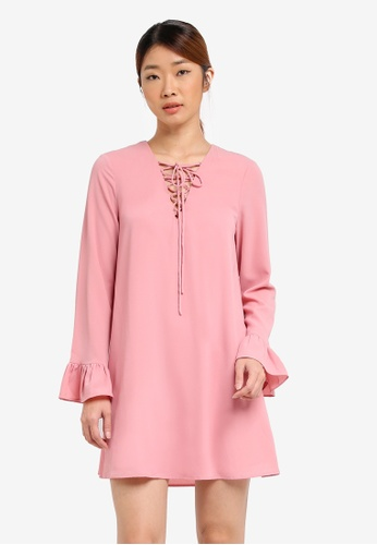 Something Borrowed pink Lace Up Flutter Cuff Dress BEE2BAA2A29B2CGS_1