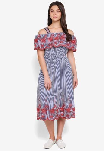 Haute Kelly navy Mi-Ja Cold Shoulder Embroidery Dress 08665AAC5375C5GS_1