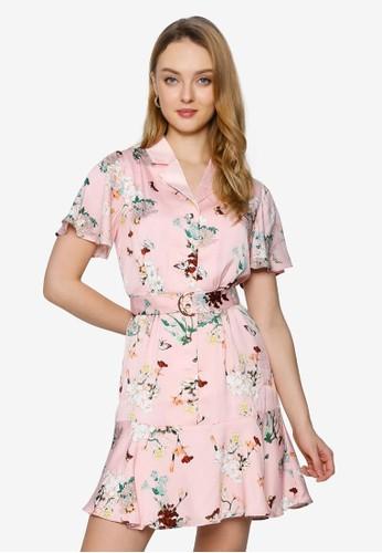 Saturday Club pink Sleeved Floral Printed Shirt Dress 81297AAC9555B6GS_1
