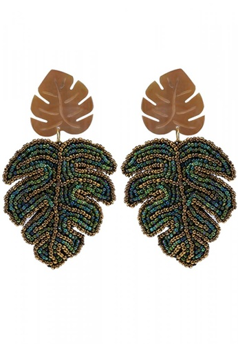 Style Cat brown and green and gold Cancun Leaf Earrings 7DC42AC1FAA13CGS_1