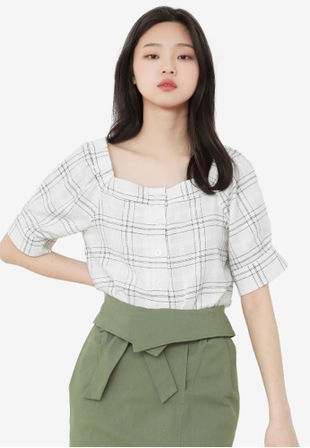 NAIN black Check Off Shoulder Top 38AE0AA64E1328GS_1