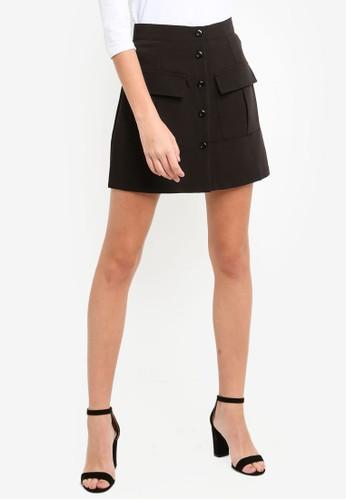 Eyescream black Button Down Pocketed A-Line Skirt F20B0AABF0D7DEGS_1