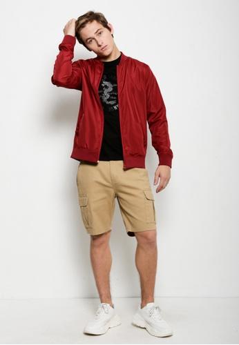 Hi Style red Nylon Bomber Jacket C2FC4AA09D970DGS_1