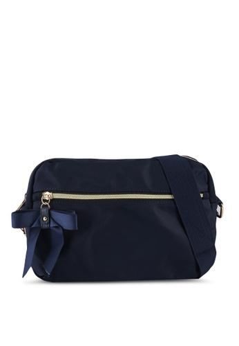 NUVEAU navy Premium Contrast Zip Nylon Sling Bag 87236ACBC747FAGS_1