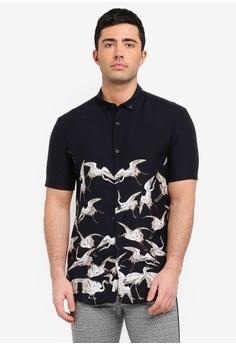5ea693fad0 River Island black Short Sleeve Black Crane Shirt 351CFAA8E60899GS 1