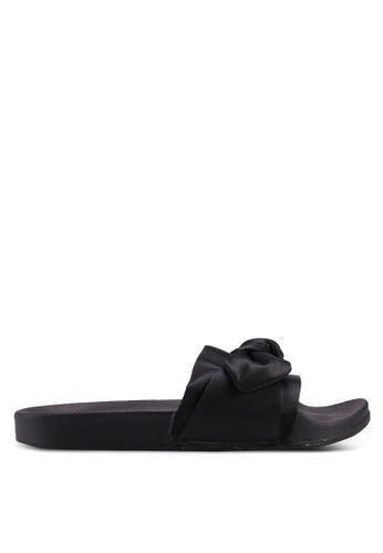 Carlton London black Runched Bow Sliders AE147SH594A893GS_1