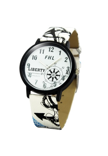 World of Watches white FHL Liberty Captain's Leather Strap Watch 2218 WO566AC99IKIPH_1