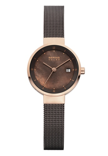 Bering black and gold Solar 14426-265 Brown 26 mm Women's Watch 1ACFEACF276FA3GS_1