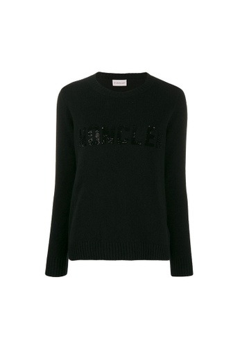 Moncler black Moncler Micro-Sequin Embroidery Sweater in Black B1477AA40CED88GS_1