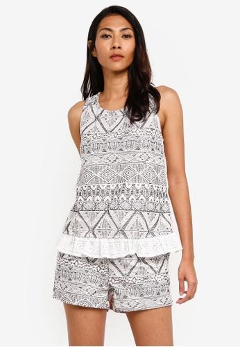 UniqTee grey Tribal Print with Lace Hem Pajamas Set B40BAAABDA45B5GS_1