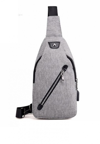 Lucky JX grey Lester Men's Aslant Chest with USB Loop Cross Body Bag 00373AC6A16884GS_1
