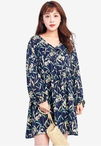 Tokichoi navy Floral Printed Flowy Dress AB713AA73A072CGS_1