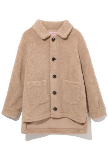 b+ab beige Teddy fleece jacket 5C7F2AA087290FGS_1