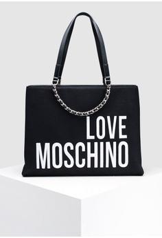 685a3fdbc0cc9 Love Moschino black Canvas Tote Bag BB0B6AC319831AGS 1