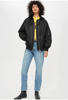 212f6fd7fcca3 15% OFF TOPSHOP Longline Bomber Jacket RM 409.00 NOW RM 347.90 Sizes 8