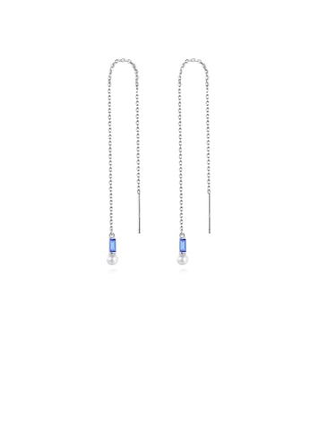 Glamorousky white 925 Sterling Silver Simple Temperament Geometric Freshwater Pearl Tassel Earrings with Blue Cubic Zirconia A9911ACC7617C6GS_1