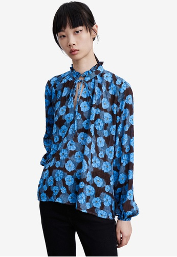 URBAN REVIVO blue Floral Top EA926AABAABAE7GS_1