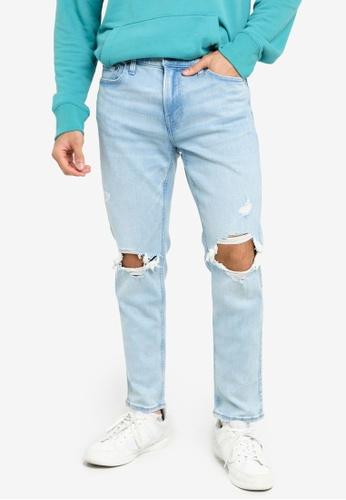 Hollister blue Taper Blowout Dremel Jeans 487B8AA1322174GS_1