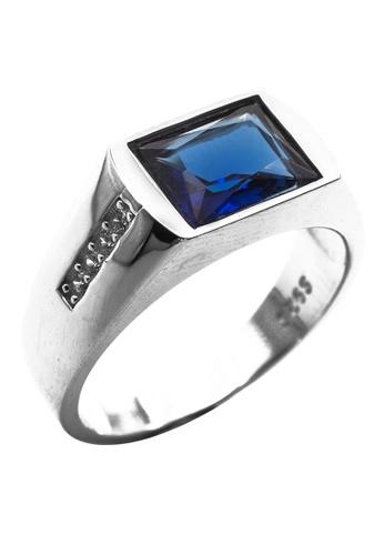 Elfi silver Elfi 925 Genuine Silver Engagement Ring R51 (Blue) - Hidden Treasure 6790BACBDA81C2GS_1