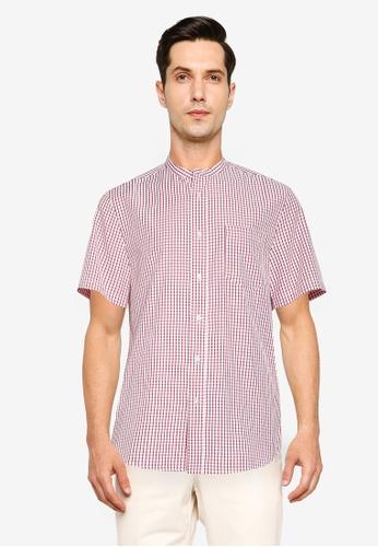 ZALORA BASICS red Printed Short Sleeve Stand Collar Shirt 799DDAAE9EBC80GS_1