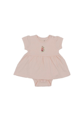 Baby Lovett beige Flowers in the Wind Romper Dress 2E4ABKA3536171GS_1