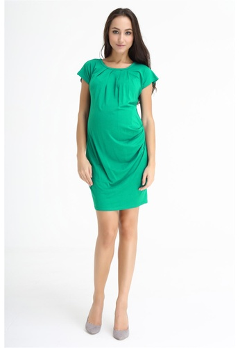 Bove by Spring Maternity green Knitted Kimomo Sleeves Pleated Dress Green LD106 BO010AA0FBYMSG_1