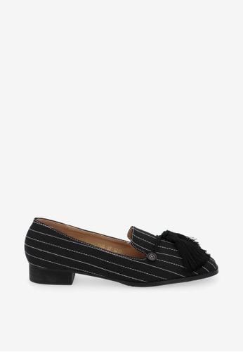 """Carlo Rino 黑色 Black 1"""" Suri In Stripes Loafers 76C17SHF12324FGS_1"""