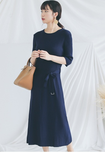 Shopsfashion navy Knitted Midi Dress in Navy  SH656AA0GHE7SG_1