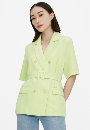 Pomelo green Belted Double Button Shirt - Green 63A9BAAF634885GS_1