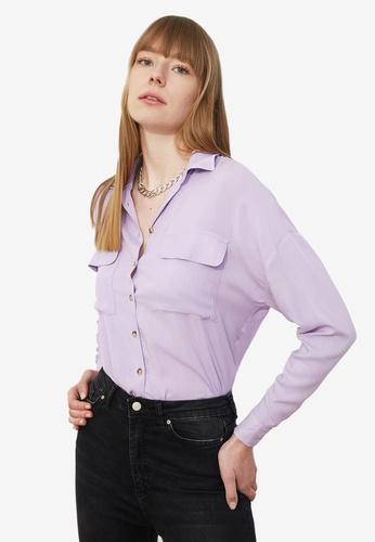 Trendyol purple Basic Double Pocket Shirt E4712AA50EE54EGS_1