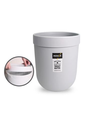 HOUZE grey HOUZE - 10L Waterproof Design Open Top Wastebin with Pressure Ring (Grey) DD360HLA6FCB20GS_1