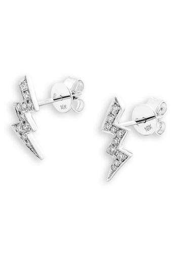 MaBelle silver 18K/750 White Color Gold Lightning Shaped Diamond Earrings B7C53AC1276005GS_1