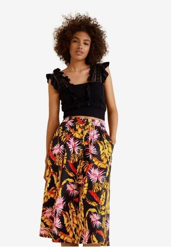 Mango black Printed Midi Skirt 9CBBFAA0D17B3AGS_1