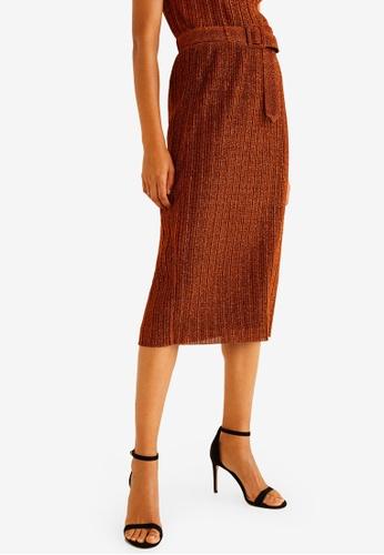 Mango orange Belt Metal Thread Skirt 2B1E6AA95B2886GS_1