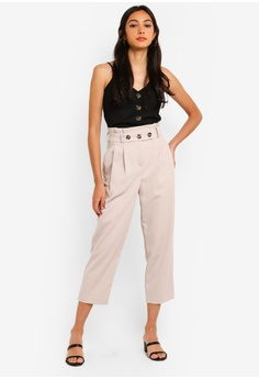 f47e2db4a66b TOPSHOP Petite Paperbag Button Tapered Trousers S  76.90. Sizes 8