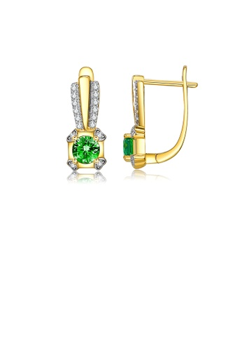 Glamorousky white Fashion and Elegant Plated Gold Geometric Earrings with Green Cubic Zirconia 8FA4EACD2B04F1GS_1