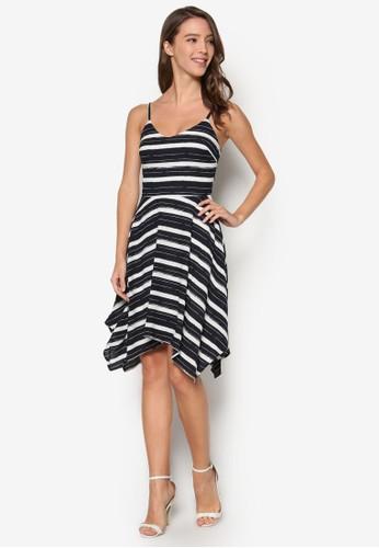 不對稱裙擺esprit 澳門條紋洋裝, 服飾, 知性女強人