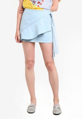 Mango blue Frayed Ruffle Denim Skirt MA193AA77EBUMY_1