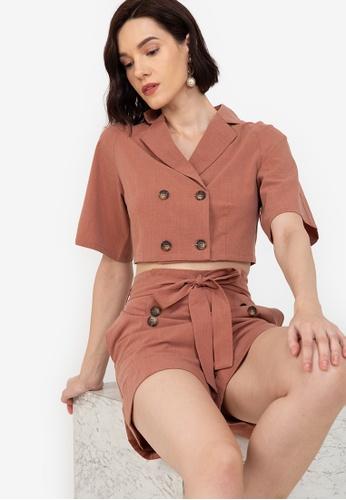 ZALORA WORK brown Short Sleeve Blazer A1243AA1EFE7DCGS_1
